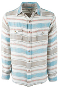 Ryan Michael Heather Blanket Jacquard Snap Shirt - Glacier - Front