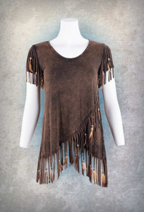 Pat Dahnke Brown Cap Sleeve Fringe Top