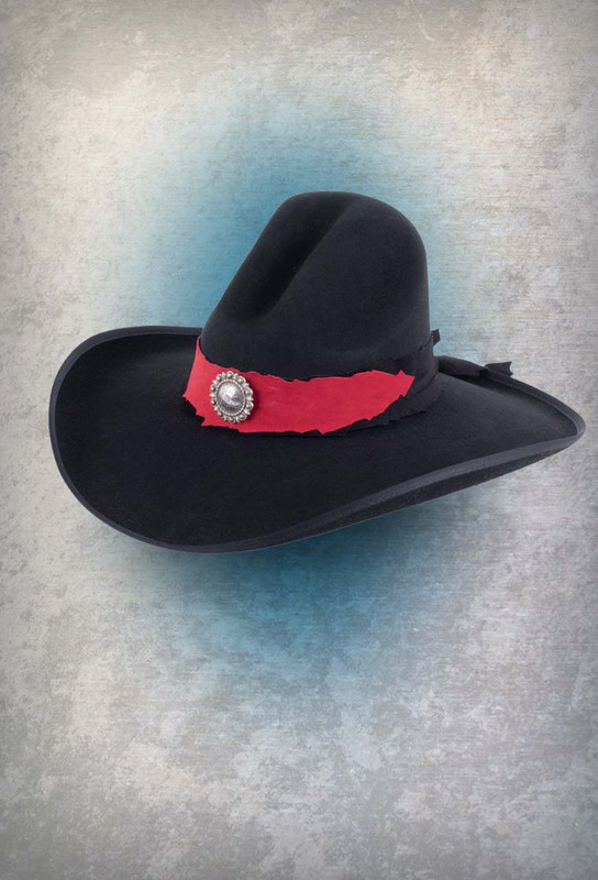 d13c6716aad Pat Dahnke Black with Red Gus Felt Hat - Pinto Ranch