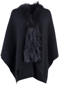 Linda Richards Sweater with Fur Collar Cape - Front