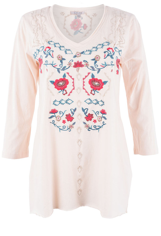 Caite Larissa Embroidered Top - Front
