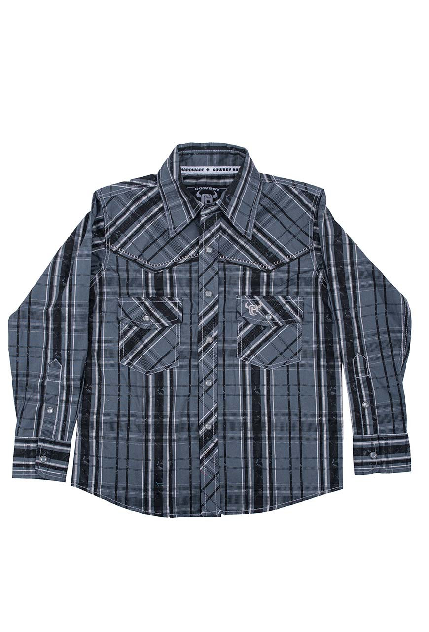 327ce18d Kids - Cowboy Hardware Youth Distressed Plaid Snap Shirt