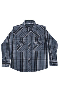 Kids - Cowboy Hardware Youth Distressed Plaid Snap Shirt - Front