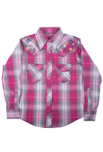 Kids - Cowgirl Hardware Youth Floral Embroidered Plaid Snap Shirt - Front