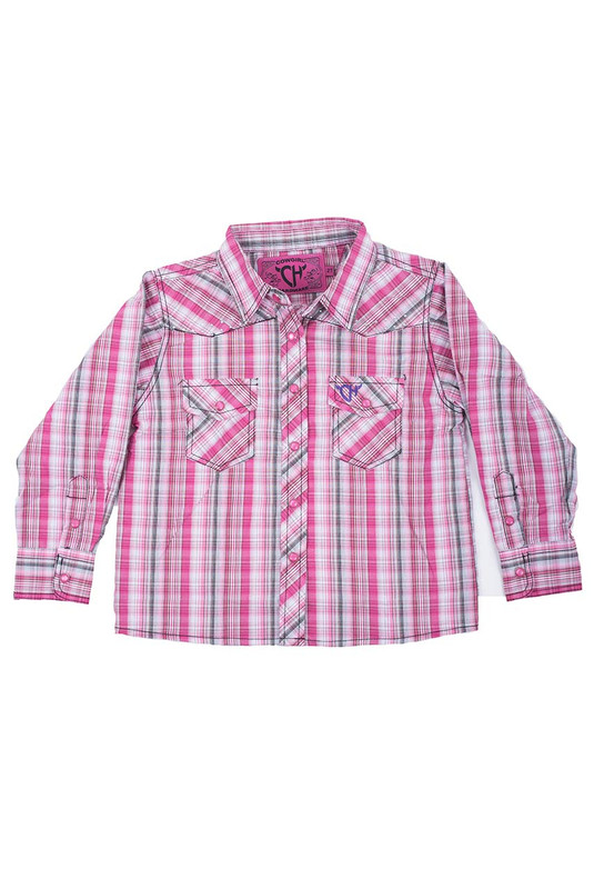 473079d87 Toddler - Cowgirl Hardware Girls Sunset Plaid Snap Shirt - Pinto Ranch