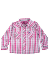 Toddler - Cowgirl Hardware Girls Sunset Plaid Snap Shirt - Front