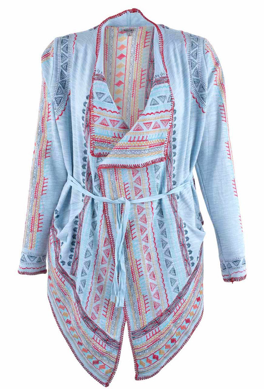 Adore Blue Draped Open Embroidered Cardigan - Front