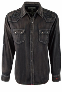 Ryan Michael Embroidered Black Denim Shirt - Front