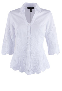 Gretty Zueger 3/4 Sleeve Criss Cross Top - White - Front