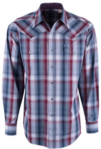 Stetson Blue Vintage Ombre Plaid Snap Shirt - Front