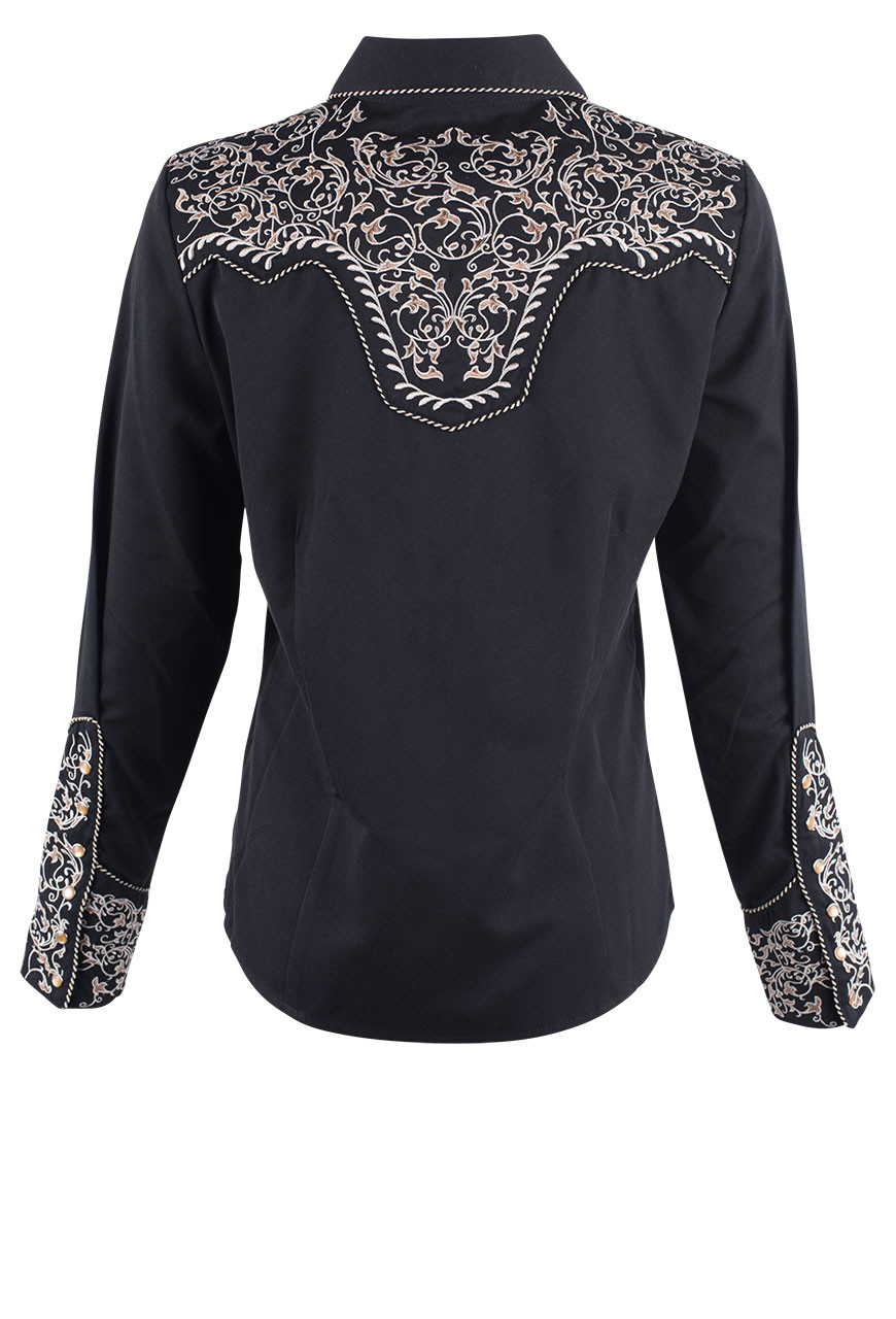 ed800a382a5 Scully Women s Floral Scroll Embroidered Western Snap Shirt - Back - Black
