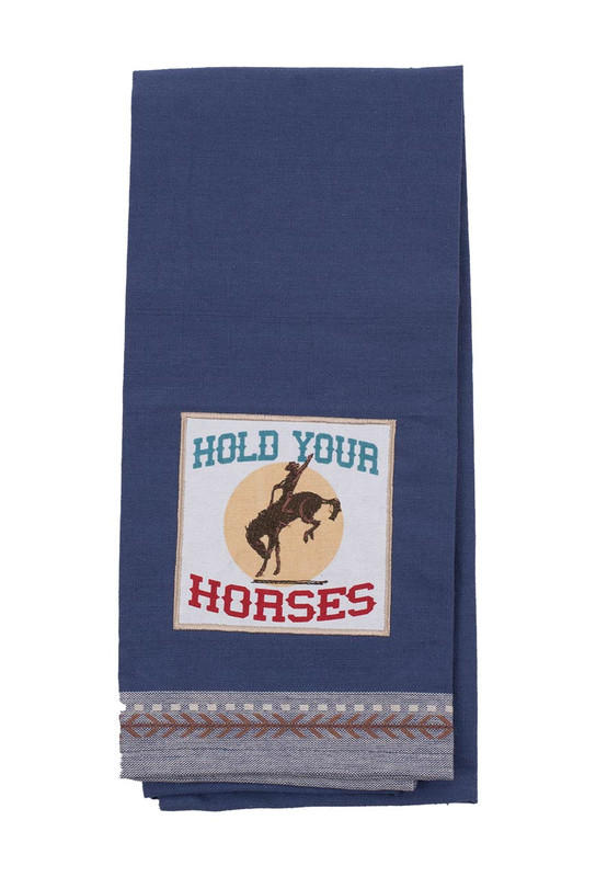 Dish Towel - Hold Your Horses Embellished Kitchen Towel - Front