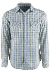 Ryan Michael Neon Indigo End on End Plaid Ombre Snap Shirt - Front