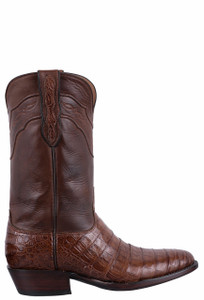 Black Jack for Pinto Ranch Men's Dark Cognac Select Caiman Belly Boots - Side