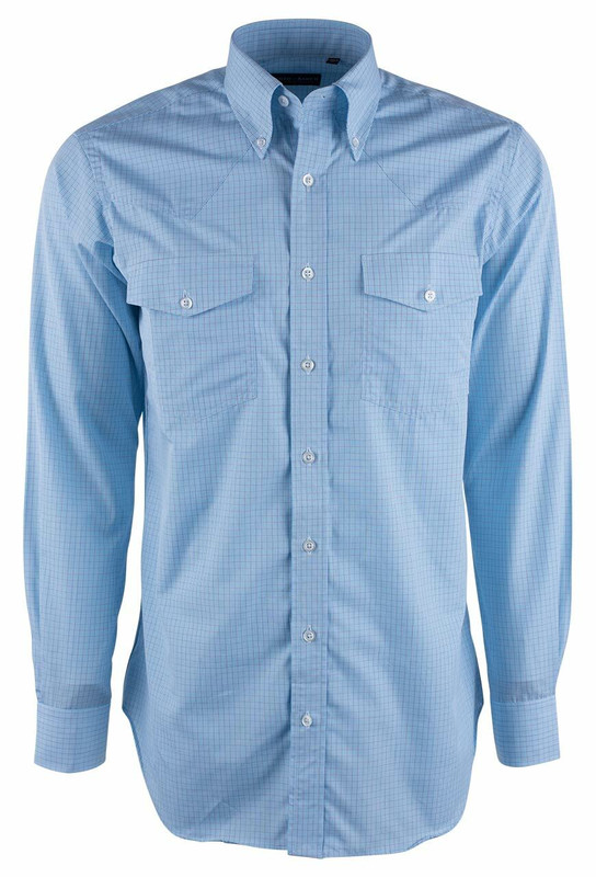 Pinto Ranch YY Collection Teal and Brown Micro Graph Check Shirt - Front