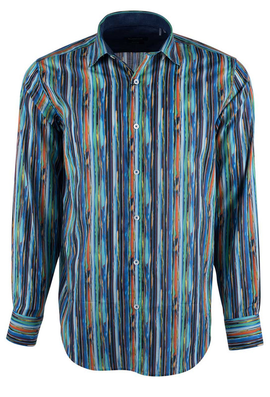 Bugatchi Candy Fancy Painted Stripes Shirt - Front