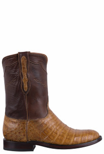 Black Jack for Pinto Ranch Men's Burnished Saddle Tan Select Caiman Belly Roper Boots- Side