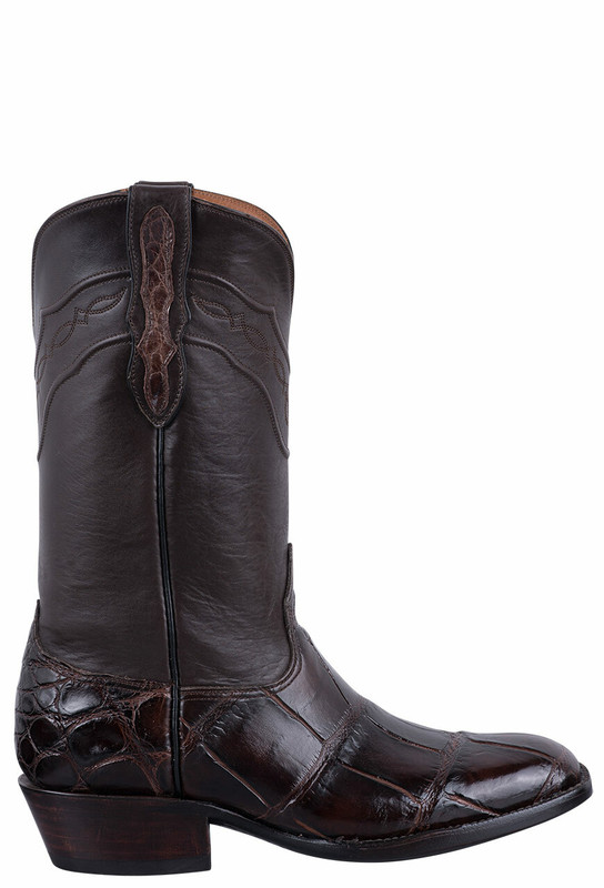 Black Jack for Pinto Ranch Men's Chocolate Gator Boots - Side