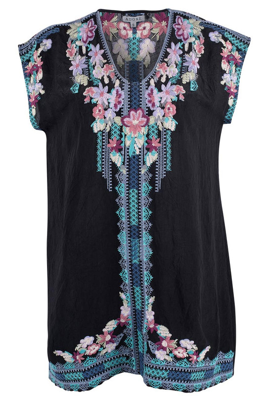 Adore Black Embroidered Top - Front