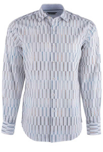 Bugatchi Chalk Fancy Bar Stripes Shirt - Front