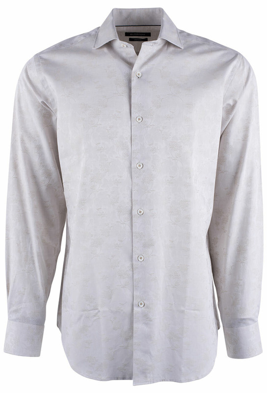 Bugatchi Sand Fancy Floral Embroidered Jacquard Shirt - Front