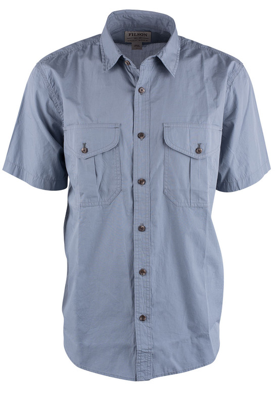 a7a7ce6e350bd Filson Smoke Blue Feather Cloth Short Sleeve Shirt - Pinto Ranch