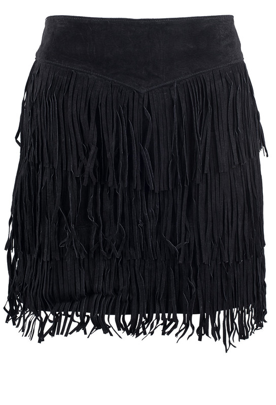 Scully Black Short Suede Three Tiered Fringe Skirt - Front