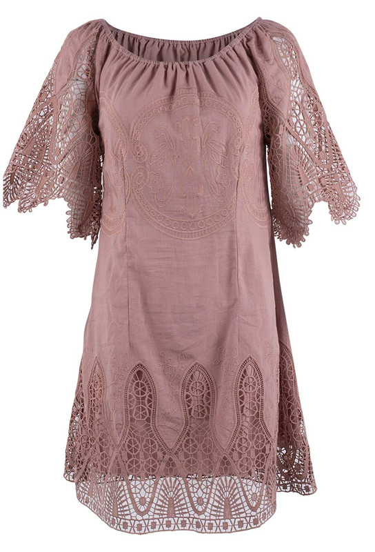 Bronte Victoria Lace Dress - Rose - Front