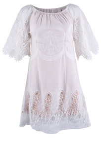 Bronte Victoria Lace Dress - White - Front