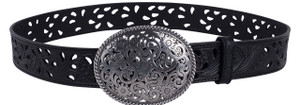 Oval Trophy Buckle Belt - Black