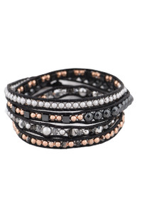 Wrapped to Wear Rose Gold and Hematite Spiral Wrap Bracelet  - Front