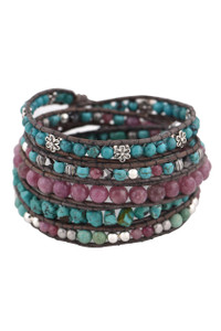 Wrapped to Wear Ruby and Turquoise Spiral Wrap Bracelet - Front