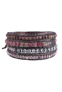 Wrapped to Wear Rhodonite Spiral Wrap Bracelet - Front