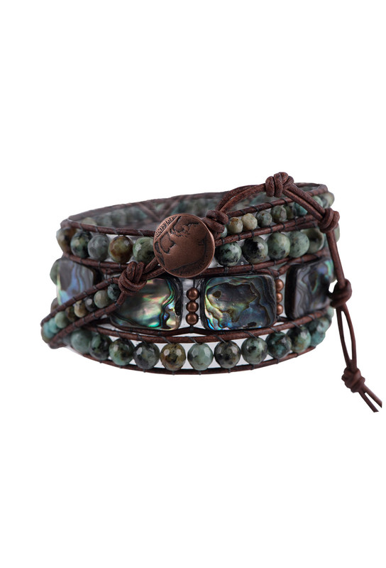 Wrapped to Wear Turquoise and Abalone Spiral Wrap Bracelet - Front