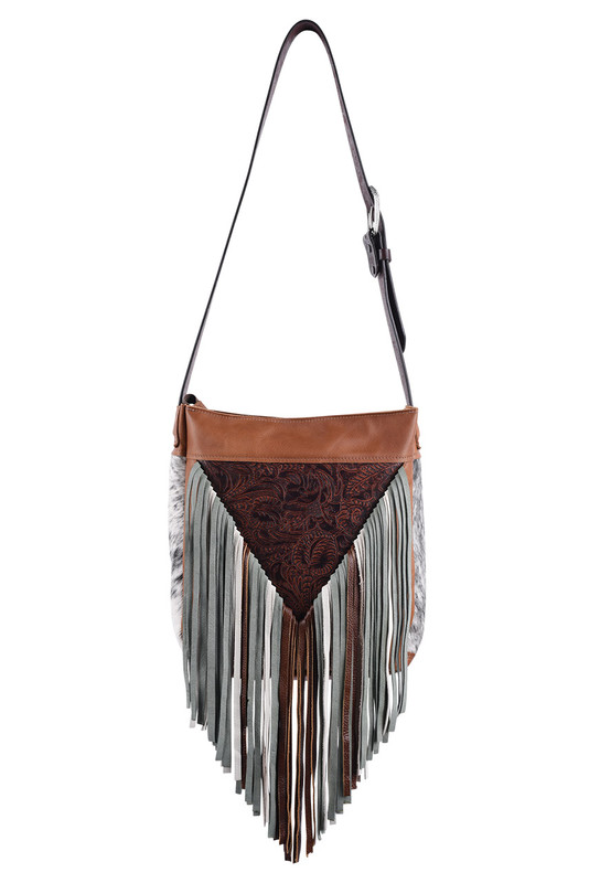 Tooled Floral Western Leather Fringe Bag by Fringe Hill With Embossed  Leather and Genuine Hair - Pinto Ranch e420e931072d4