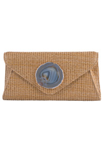 Wimberly Agate Envelope Straw Clutch - Natural - Front