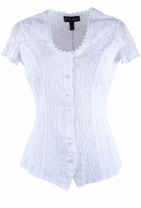 Gretty Zueger Lace Cap Sleeve Top - Front