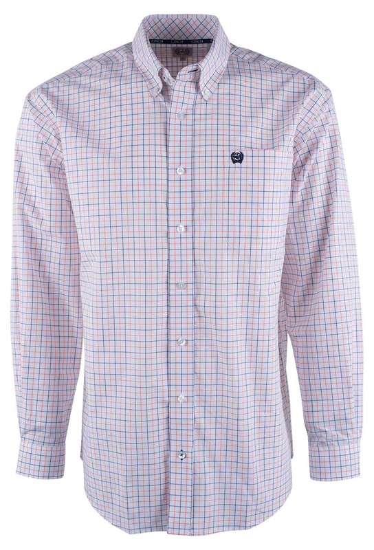 Cinch White Check Print Shirt - Front