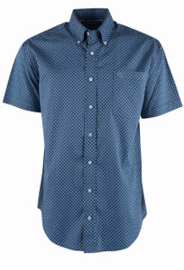 Cinch Short Sleeve Navy Petal Print Shirt - Front