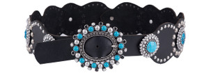 Black Turquoise and Stud Concho Belt