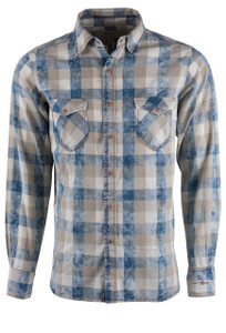 Ryan Michael Indigo Buffalo Plaid Snap Shirt - Front