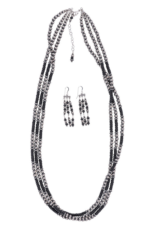 Turquoise Moon Onyx and Sterling Silver Bead Necklace and Earring Set - Front