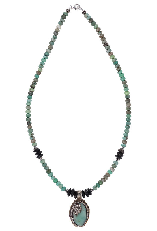 Breathe Deep Designs Opal and Horn Beaded Necklace - Front