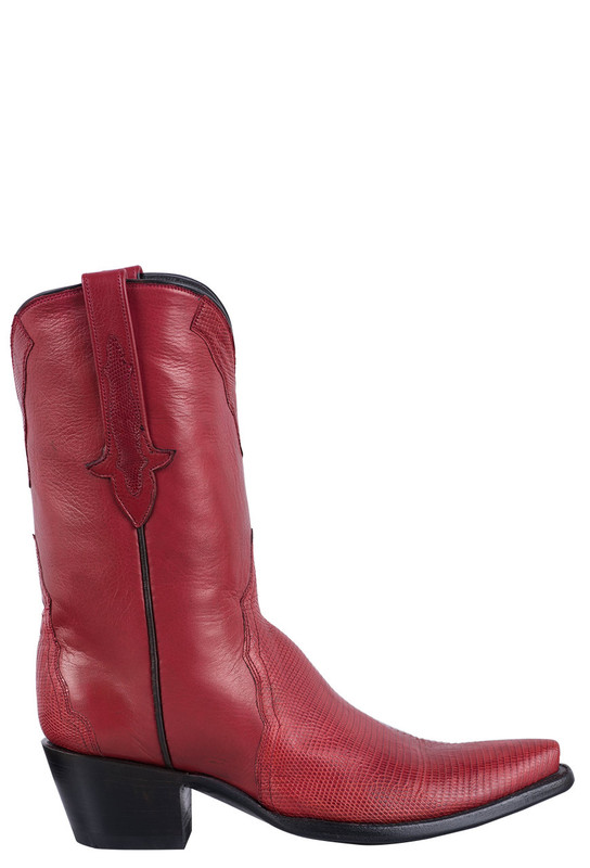 STALLION WOMEN'S RED LIZARD COWBOY BOOTS