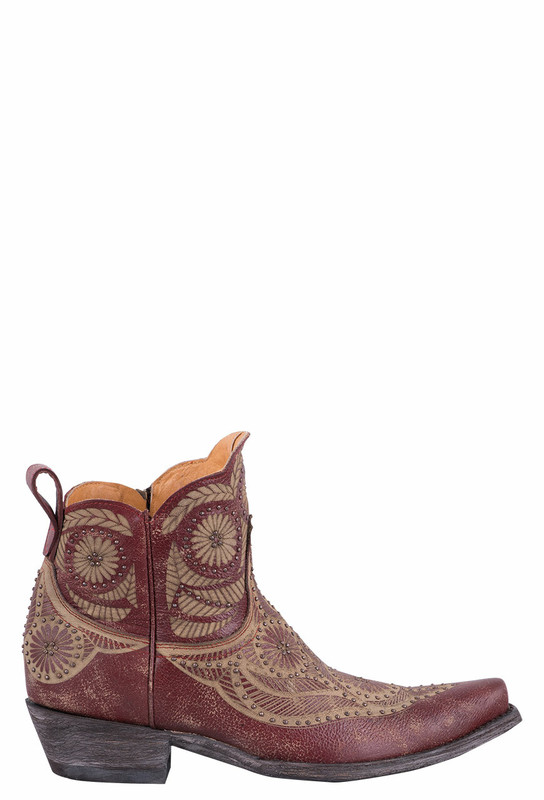 WOMEN'S VALENTINE DION OLD GRINGO RED COWGIRL ANKLE BOOTS