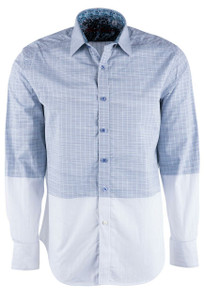 Robert Graham Cano Blue and White Domino Sport Shirt - Front
