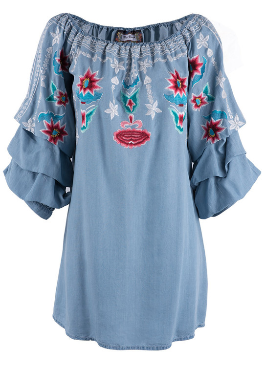 Vintage Collection Tencil Floral Embroidered Island Tunic - Front