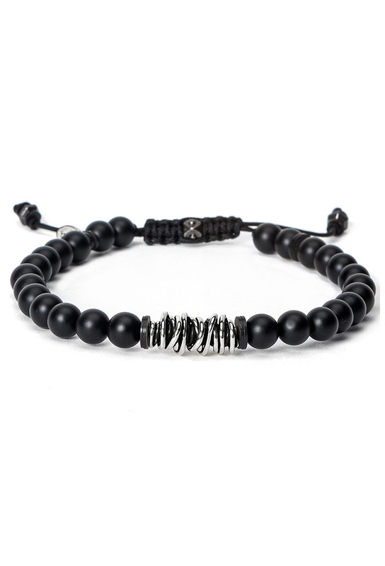 Kenton Michael Onyx Bracelet With Sterling Silver Coil