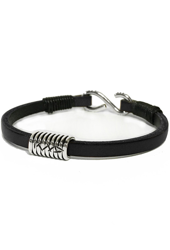 Kenton Michael Signature Black Sterling Coil Leather Bracelet