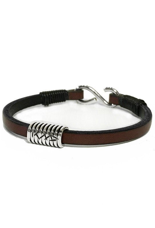 Kenton Michael Signature Brown Sterling Coil Leather Bracelet